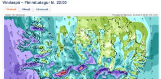 Slæm spá í dag og nótt. Mynd Veðurstofa íslands.